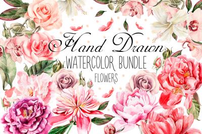 Hand Drawn Watercolor Bundle FLOWERS