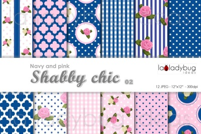 Shabby chic, pink and navy. Digital wallpapers.