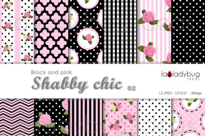Shabby chic, pink and black. Digital wallpapers.