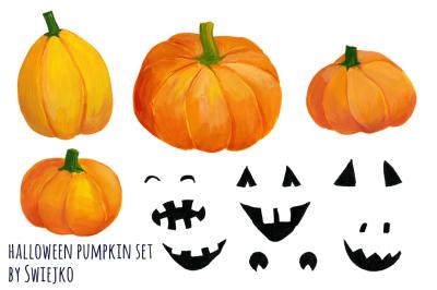 Hand Painted Pumpkin, Halloween Clipart, printable art, autumn illustration