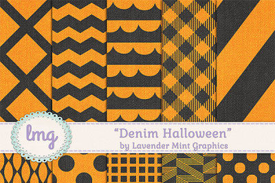 Denim Halloween Digital Papers