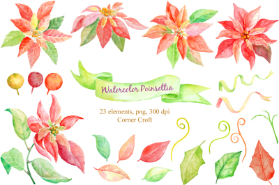 Watercolor Christmas Clipart Poinsettia