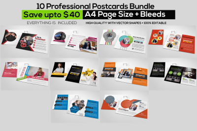 10 Business PostCards Bundle