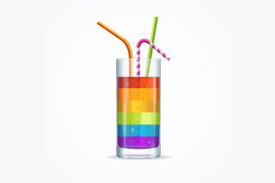 Rainbow Cocktail Glass. Vector