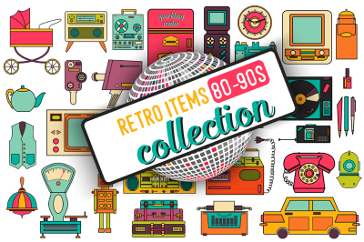 32 retro icons 80-90s collection.