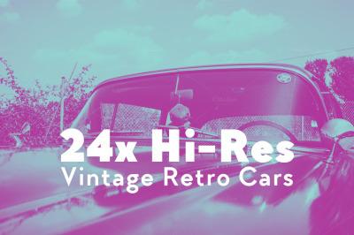 VINTAGE RETRO OLDTIMER & MUSCLE CARS 24x Hi-Res Images