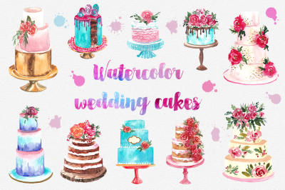 watercolor wedding cake collection