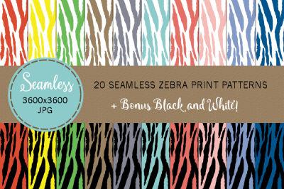 21 Seamless Zebra Prints Spring Colors