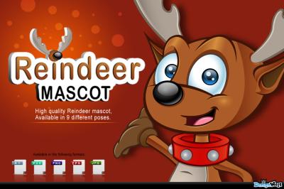 Reindeer Mascot In 9 Poses