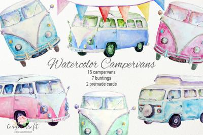 Watercolor Clipart Camper Van, Leisure Vehicle