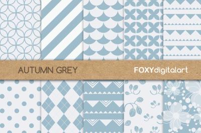 Floral Grey Silver Digital Paper Scrapbook