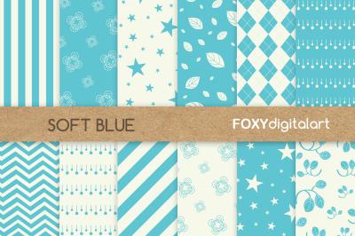 Blue Floral Digital Paper Scrapbook Paper Pack