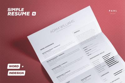 Simple Resume/Cv Volume 4 - Indesign + Word Template