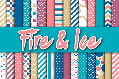 Fire and Ice Digital Papers