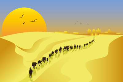 the caravan comes to town in the desert, vector illustration