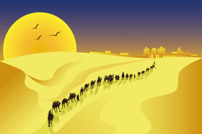 the caravan comes to a city in the desert