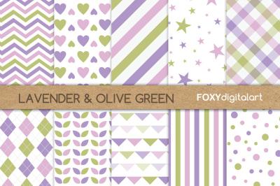 Purple Green Digital Paper Pack