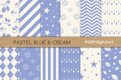 Blue Floral Digital Paper Scrapbook