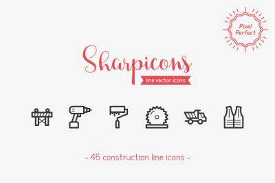 Construction Line Icons - Sharpicons