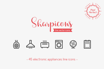 Electronic Appliances Line Icons