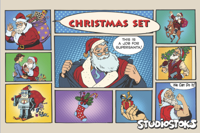 Christmas set, pop art retro Santa