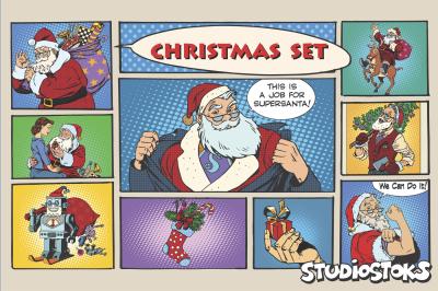 Christmas set, pop art retro Santa