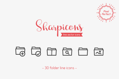 Folder Line Icons - Sharpicons