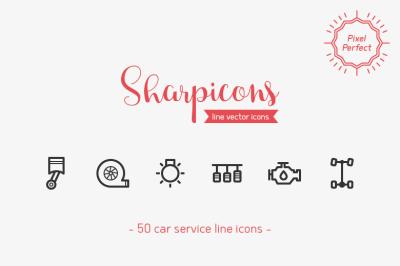 Car Service Line Icons - Sharpicons