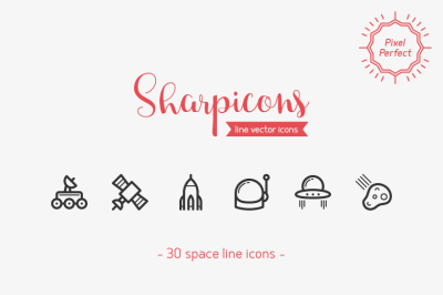 Space Line Icons - Sharpicons