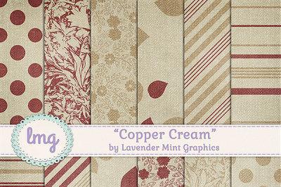 Copper Cream Digital Scrapbook Papers