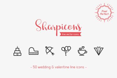 Wedding & Valentine Line Icons