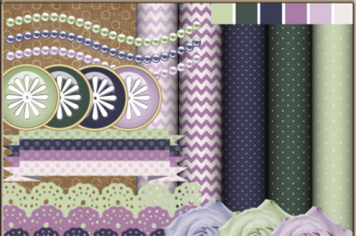 Mint Purple Navy Scrapbook Set