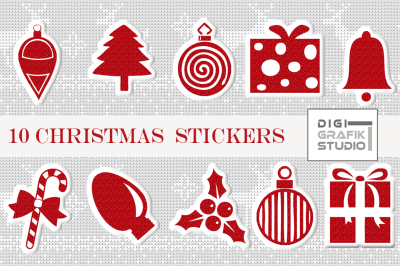 Red Glitter Puffy Christmas Digital Stickers
