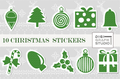 Green Glitter Puffy Christmas Digital Stickers