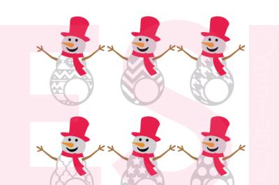 Patterned Snowmen Monogram Designs - SVG, DXF, EPS - Cutting Files