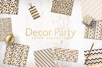 Decor Party Gold Black and Blush Digital Papers