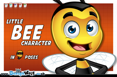 Little Bee Character in 9 Poses
