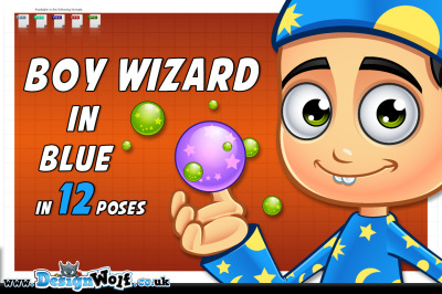 Boy Wizard In Blue - 12 Poses