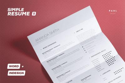 Simple Resume/Cv Volume 5 - Indesign + Word Template
