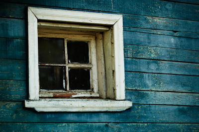 Blue wooden wall, window