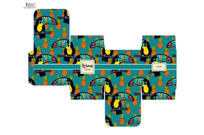 Template pattern decorative gift box with tropical toucan.