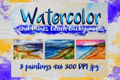 Watercolor Sand Dunes Beach Backgrounds