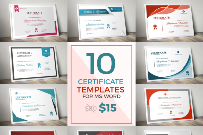 10 corporate modern certificate templates for MS Word