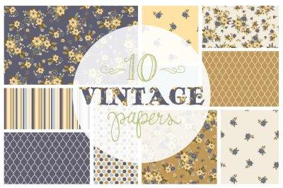 Vintage Floral Pattern Papers / Backgrounds