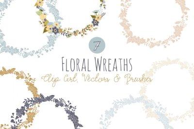 Floral Wreath Overlays & Vectors