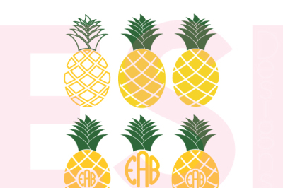 Pineapple Designs and Monograms - SVG, DXF, EPS cutting files.