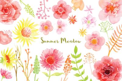 Watercolor clipart summer meadow
