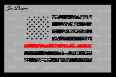 Red Line Distressed Flag SVG DXF EPS