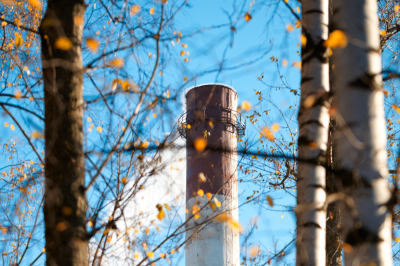 Factory chimney and trees.