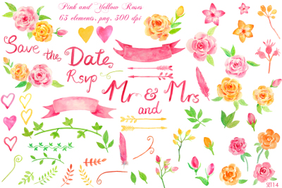 Watercolor Wedding Rose Collection
